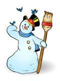 lycklig snowman Arkivfoton