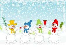 lycklig snowman Arkivbild