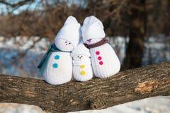 lycklig snowman för familj Royaltyfria Bilder