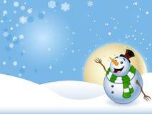 Lycklig Snowman med bakgrund Arkivbild