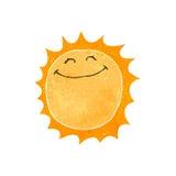 lycklig sol för retro tecknad film Royaltyfri Foto
