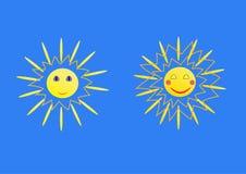 Lycklig sol som två kopplas av och stock illustrationer
