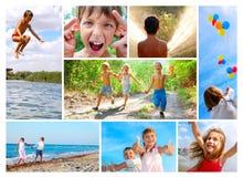 lycklig sommar för barndomcollage arkivbild