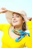 lycklig sommar för flicka Arkivfoto