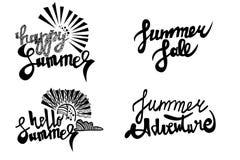 Lycklig sommar sommarförsäljning, hälsningsommar, packe för text för sommaraffärsföretagvektor Royaltyfri Fotografi
