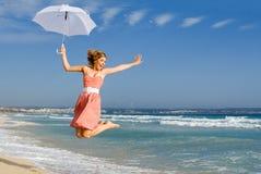 lycklig sommarsemester för strand Royaltyfria Foton