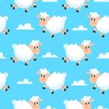 Lycklig sova sheepstygbakgrund Drömlik ullig sömlös illustration för lamm- eller fårtecknad film royaltyfri illustrationer