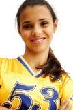lycklig spelare för fotbollflicka Royaltyfri Bild