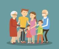 lycklig stående för familj royaltyfri illustrationer