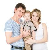 lycklig stående för familj bakgrund isolerad white Arkivfoto