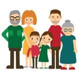 lycklig stående för familj Fader och moder, son och dotter, morförälderalltogether också vektor för coreldrawillustration Arkivbild