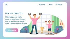 Lycklig stående utbildande hem- sport för fader och för son stock illustrationer