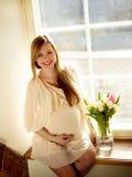 lycklig ståendegravid kvinna Royaltyfri Fotografi