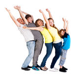 lycklig ståendeprofil för familj Royaltyfria Foton