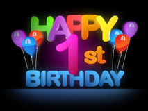Lycklig 1st födelsedag, mörker vektor illustrationer