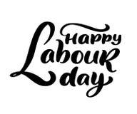 Lycklig 1st kan bokstävervektorbakgrund Begrepp för logo för Labour dag med skiftnycklar Internationell arbetardagillustration vektor illustrationer