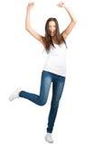 lycklig stående för spännande flicka Arkivbilder