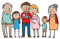 lycklig stor familj Arkivfoton