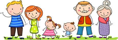 Lycklig stor familj med barn royaltyfri illustrationer