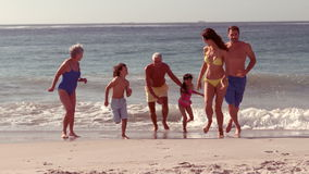 Lycklig storfamiljspring stock video