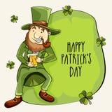 Lycklig Sts Patrick dagberöm med det gulliga trollet Arkivfoton