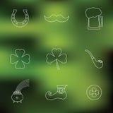 Lycklig Sts Patrick linje symboler för dagvektor på Fotografering för Bildbyråer