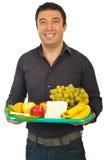 lycklig sund holdingman för mat royaltyfri foto