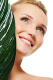 lycklig sund skratta kvinna för härlig framsida Arkivbilder