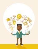 Lycklig svart man som tycker om göra multitasking Arkivfoto