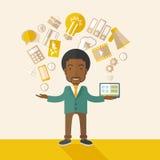Lycklig svart man som tycker om göra multitasking Royaltyfri Foto
