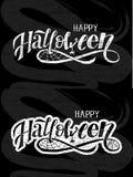 Lycklig svart tavla för klistermärke för ferie för text för borste för allhelgonaaftonbokstäverkalligrafi stock illustrationer