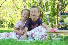 Lycklig syster och broder som har gyckel på picknick Arkivbild