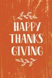 Lycklig tacksägelse - dragen hand märka typografi royaltyfri illustrationer