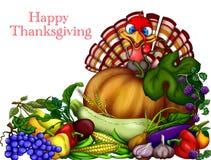 lycklig tacksägelse Hälsningkort med en gladlynt kalkon och au stock illustrationer