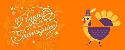 Lycklig tacksägelse som är typografisk, tecknad filmtecken Arkivfoton
