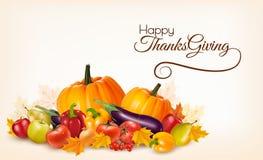 Lycklig tacksägelsebakgrund med färgrika höstsidor stock illustrationer
