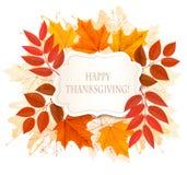 Lycklig tacksägelsebakgrund med färgrika höstsidor vektor illustrationer
