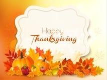 Lycklig tacksägelsebakgrund med färgrika sidor royaltyfri illustrationer