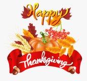 Lycklig tacksägelseberömbakgrund Pumpa sidor, Rowan Berries, ekollonar vektor illustrationer