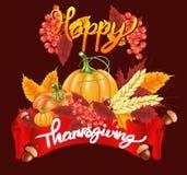 Lycklig tacksägelseberömbakgrund Pumpa sidor, Rowan Berries, ekollonar Royaltyfri Bild