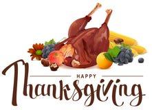 Lycklig tacksägelsebokstävertext Rik skörd av druvor, äpplet, havre, apelsinen och den grillade kalkon vektor illustrationer