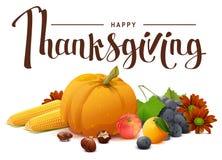 Lycklig tacksägelsebokstävertext Rik skörd av pumpa, druvor, äpple, havre, apelsin stock illustrationer