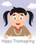 Lycklig tacksägelsedag med den infödda flickan Royaltyfri Bild