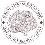 Lycklig tacksägelsedagstämpel med kalkonkonturn Arkivbild