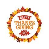 Lycklig tacksägelsedagtypografi med ramen för prydnad för höstnedgångsidor Logo emblem, klistermärke, baner, etikett, kortvektor vektor illustrationer