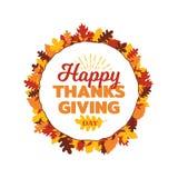 Lycklig tacksägelsedagtypografi med ramen för prydnad för höstnedgångsidor Logo emblem, klistermärke, baner, etikett, kortvektor royaltyfri illustrationer