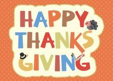 Lycklig tacksägelsekortdesign stock illustrationer