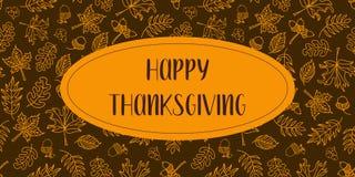 Lycklig tacksägelsetextvektor med höstsidor stock illustrationer