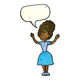 lycklig 50-talkvinna för tecknad film med anförandebubblan Arkivbild