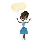 lycklig 50-talkvinna för tecknad film med anförandebubblan Arkivfoto